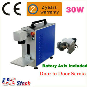 Us Upgrade 30w Fiber Laser Marking And Engraving Machine Ratory Axis Include Ce