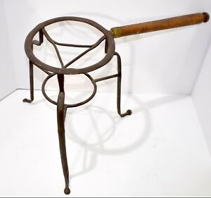 Antique Open Hearth Wrought Iron Trivet Primitive 1800 S Cooking Stand