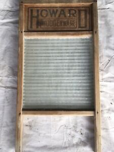 Vintage Howard Woodenware Washboard Wood Glass Washboard Crown Glass No 1005