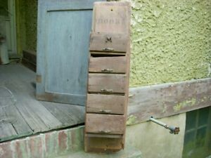 Antique Folk Art Primitive 5 Drawer Apothecary Store Cabinet Cupboard 34 X 9
