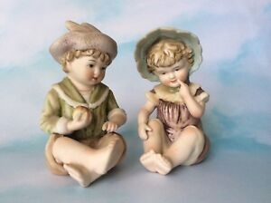 2 Adorb Vintage Piano Babies Boy Girl Bisque Porcelain Figures Figurines Marked