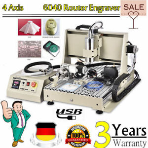 Cnc 6040 Engraver Router Engraving Machine Milling 4axis Usb 1 5kw Vfd 3d Cutter