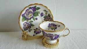 Rosina Tea Cup Saucer Gold Trim Yellow Purple Rose White England Bone China