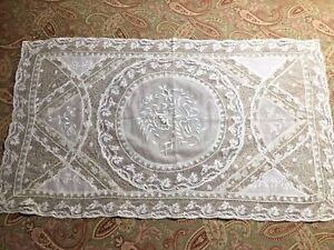 French Antique 1890 Handmade Normandy Lace 14 X 24