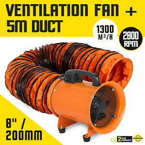 8 Extractor Fan Blower Portable 5m Duct Hose Utility High Rotation Exhaust