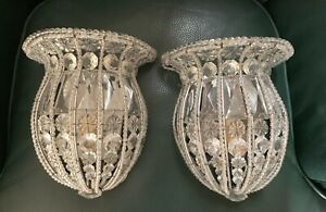 Pair Vintage Crystal Beaded Basket Wall Sconce Lamp Sconces