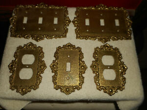 Solid Brass Cambron Outlet Switch Plate Covers Scroll On Linen 440s Lot 5 Mcm