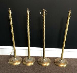 Vintage Brass Crowd Control Posts Stanchion Four 4