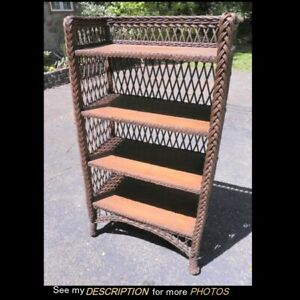 Great Antique Victorian Bar Harbor Wicker Oak 4 Shelf Bookcase
