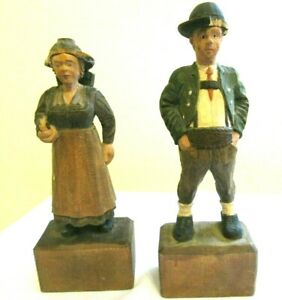 Pair Of Vintage Hand Carved Painted Wooden Man Woman Figures Folk Art As Is