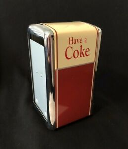 Vintage Coca Cola Napkin Dispenser Metal 1992 Red Silver Ivory