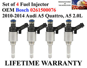 Genuine Bosch Set Of 4 Oem Fuel Injectors For 2010 2014 Audi A5 Quattro A5 2 0l