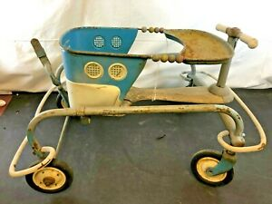 Vintage Murray Blue Metal Baby Stroller Walker For Parts Restoration
