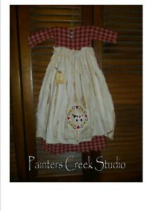 Primitive Wall Decor Dress Red Plaid W Apron Sheep Heart Star Country Grungy