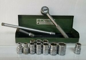 Vintage Sk 1 4 Drive Socket Partial Set In Metal Case