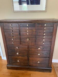 Antique Wooden Dental Storage Cabinet With Crystal Handles 44 D 11 D 40 W