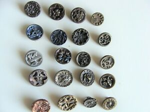 Lot Of 20 Small Antique Victorian Metal Picture Buttons