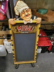Chef menu For Today Chalk Board Sign Restaurant Bar Kitchen Portable Stand