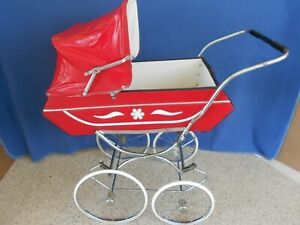 Vtg Baby Doll Buggy Carriage 35 High Red Vinyl Perfect For Reborn Doll Display