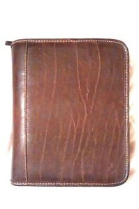 Franklin Covey Classic Brown Leather Ring Bound Zipper Planner Organizer Binder