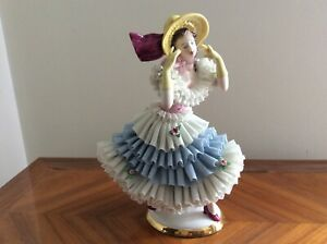 Volkstedt Dresden Sitzendorf Porcelain Lady Blue Lace Seldom Lady With Hatt