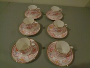 Vintage Royal Stafford Set Of 6 Bone China Tea Coffee Cup Saucer England