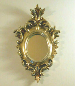 Ornate Vtg Small Florentine Mirror Picture Frame Compound Italy Wall Hanging 6