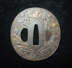 Japanese Mid Edo Period 1800 Carved Iron Tsuba Cranes With Gold Highlights