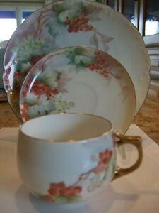 Antique Limoges Porcelain Trio Cup Saucer Plate Hand Painted Signed