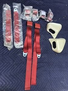 New Red Legendary Interiors Mopar 1970 1971 E Body Convertible Seat Belt Set