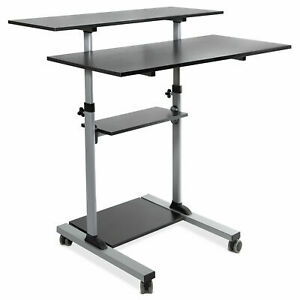 Mount it Mobile Stand Up Desk Height Adjustable Rolling Desk With 40 Wide