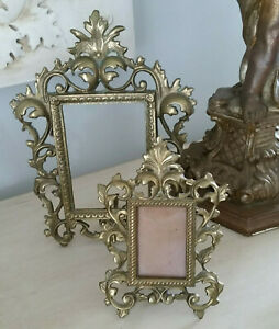 Two Vintage Cast Iron Metal Ornate Picture Photo Frames Gold Patina W Easel