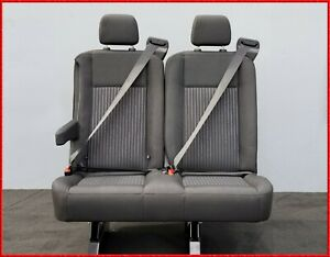 2 Passenger Gray Cloth Reclinable Bench Seat With Arm Universal Fit most Cars