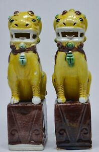 Antique Chinese Export Porcelain Foo Dogs 6 Inches Tall