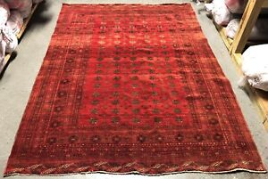1930 S Vintage Afghan Mouri Bukhara 7 X9 Hand Knotted 100 Wool Rug Ds 1253