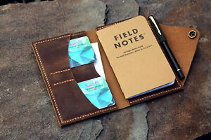 Real Leather Cover Case Organizer For Field Notes Pocket Size 3 5 X 5 5 Inch