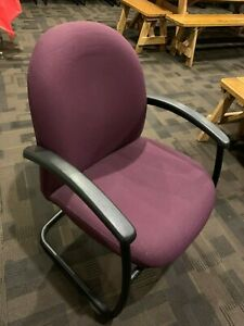 Maroon Haworth Office Chairs Round Frame