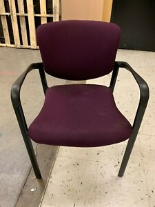 Maroon Haworth Office Chairs Straight Leg Frame