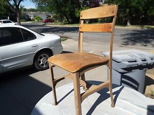Vintage Children S School Chair Wood Metal Good Condition Collectible