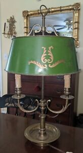 Antique Brass Toleware Adjustable Table Lamp Elegant French Style