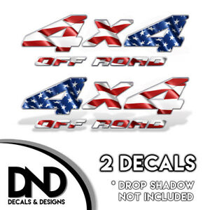 4x4 Off Road Decal 2pk Sticker For Silverado Truck American Flag D Mirrored Set