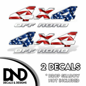 4x4 Off Road Decal 2pk Sticker Truck American Flag D Mirrored Set White Text