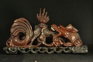 Antique Chinese Carved Wood Dragon Figurine On Wooden Stand 14 Inches Long