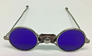 Antique Welding eclipse Glasses Cobalt Blue Glass With Leather Nose Pad