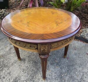 Marconi Arte Italian Bronze And Wood Inlaid Round Side Table
