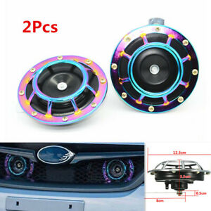 1pair Modification Loud Compact Electric Blast Super Tone Hella Colorful Horn