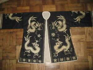 Antique Chinese Shaman Robe Yao Hilltribe Dragon Embroidery Linen Vietnamese