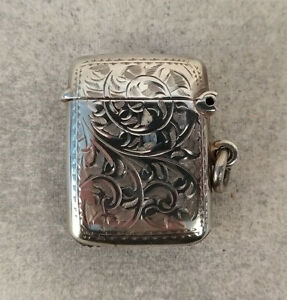 Sterling Silver Vesta Match Safe Birmingham England William James Holmes 1908