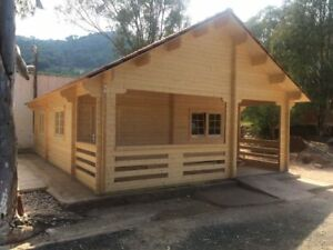 20ft X 30ft Log Home Pool Guest House Building Kit With Bunk Loft Sleep Area