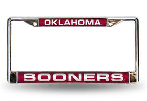 Oklahoma Sooners Laser Chrome License Plate Frame Free Screw Caps Included